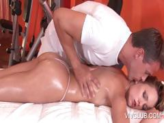 Hot dude massaging naked babe's cunt