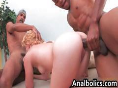 Pale blonde slut gets fucked by two part5