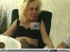 Blonde Milf in Black Stockings Sucks and Fucks
