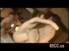 horny japanese cutie threesome sex