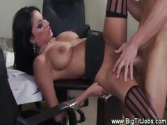 Busty latina pussy fucked from behind in bosses office