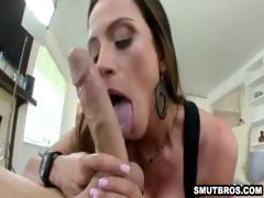 Busty babe sucking cock and getting fucked