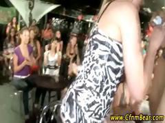 Amateur babes suck stripper cock at a CFNM party