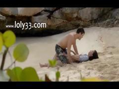 Extremely horny lovers sex on the beach