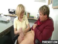 Blonde schoolgirl in glasses gets fucked hard