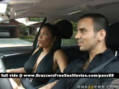 Amazing brunette chick in a car with her boyfriend