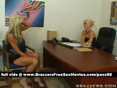 Horny blonde babe goes into her bosses office