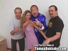 Milfy Redhead Sherry Gets Gangbanged and Bukkaked By Dirty D and His Friends