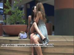 Devaun and Wendy _ Hot lesbian babes kissing and touching in public