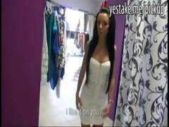 Petite brunette salesgirl dresses up and gets fucked in shop