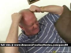 Horny blonde girl on the couch gets a blowjob