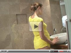 beautiful young pregnant girl in shower