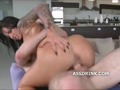 Tattoo slut cock gag and sliding her hot pussy down the shaft