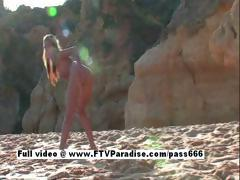 Suzanna from ftv babes long hair blonde teen babe masturbating on the beach
