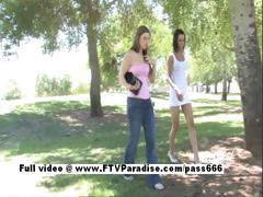 Jamee from ftv babes petite brunette babe masturbating and public posing