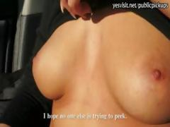 Nasty babe flashes her tits and drilled in parking lot