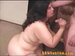 Fat girl with small tits giving blowjob