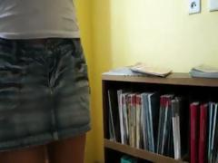Cute coed girl conviced to fuck for cash in a public library