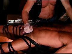 Electrified railroad spike size sound is inserted into hot masculine Steve Parker's long thick cock.