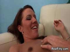 Horny mature woman getting her unshaved part1