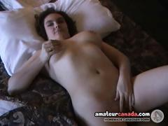 Pierced nipples busty geek hairy girlfriend uses sex toys in wet