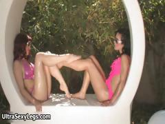 Two hot babes with sexy long legs having part2
