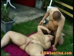Big fat pussy action outdoors