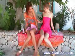 Worthless joy girls with fine knob gobblers have a bit lesbian fun out in the garden