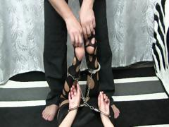 Feet tickle in nylon