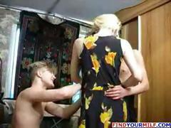Horny blonde mom takes on two young guys and gets nailed in threesome