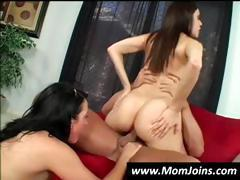MILF and daughter are taking turns riding his cock in threesome