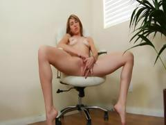 blonde fingering hole on chair