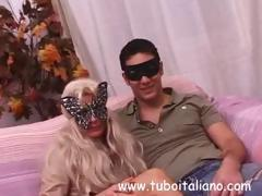 Italian couples in masks are getting filmed in hardcore fucking