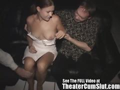 Horny Slut Wife Pleases Strangers In a Porn Theater