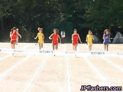 Free jav of Asian girls run a nude track part1