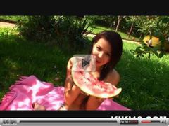 naughty teen can do with a watermelon and her pussy!