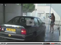 Teen sex threesome at a car wash