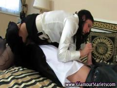 Super brunette slut gets sucking like she should be doing