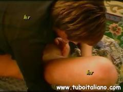 Two different amateur Italians in scenes blowing or banging