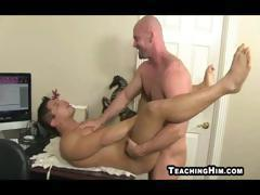 Hot and horny bald guy licks some ass before he sticks it