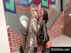 Two dressed up lesbian bitches also play with fake cock in glory hole