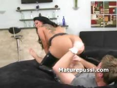 Huge ass milf bouncing on young cock as old hens really love that dick