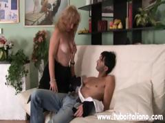 Gripping Italian maid with a capricious canal seduces a young man