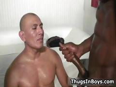 Bald guy sucking black cock and gets part1