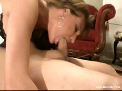 Hot blonde MILF goes down on his cock and then gets nailed for cum