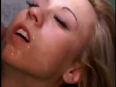 Blonde takes on a bunch of cocks in her mouth and pussy and gets a facial