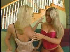 Two hot blondes in lingerie each get a cock to eat and fuck in foursome