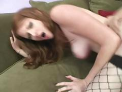 Busty brunette in fishnets rubs pussy, rides cock and gets a creampie