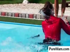 Mistress takes her slave out to the pool and they both get wet