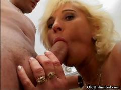 Blonde old housewife loves sucking part6